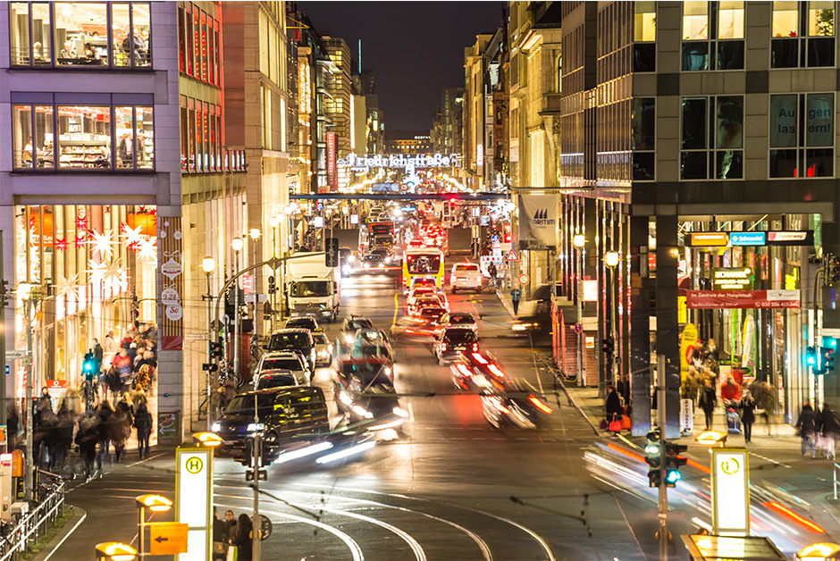 Berlin Friedrichstrasse at night