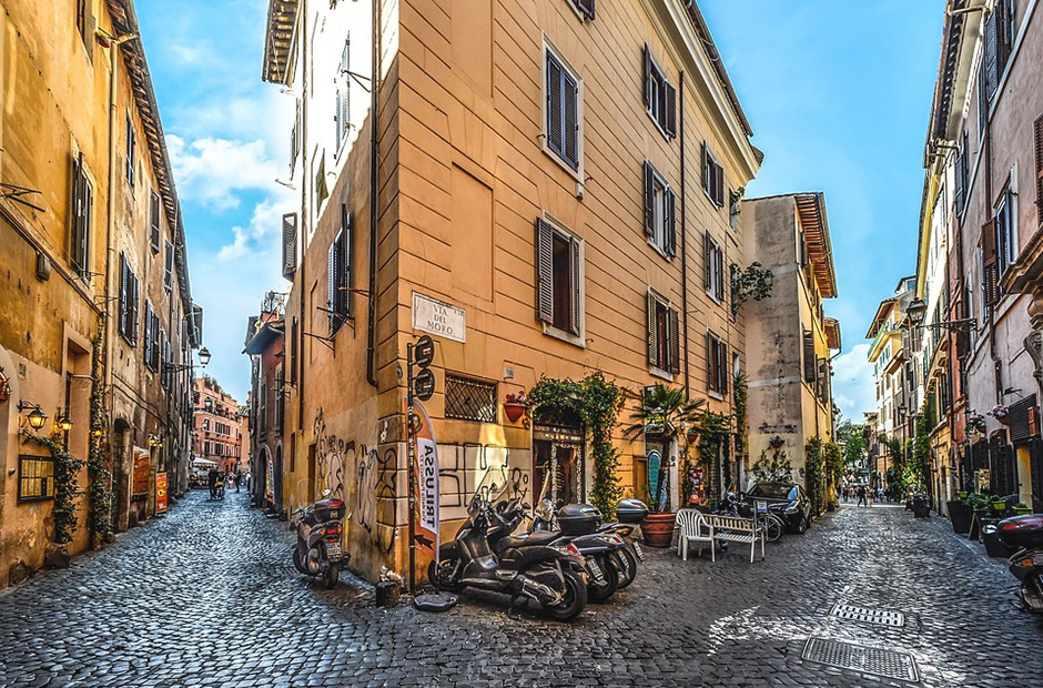 Street in the Trastevere district in Rome