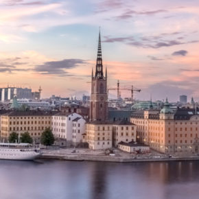 Stockholm city at dusk