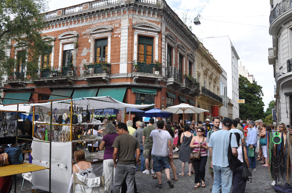 The bustling streets of San Telmo Fair, Buenos Aires