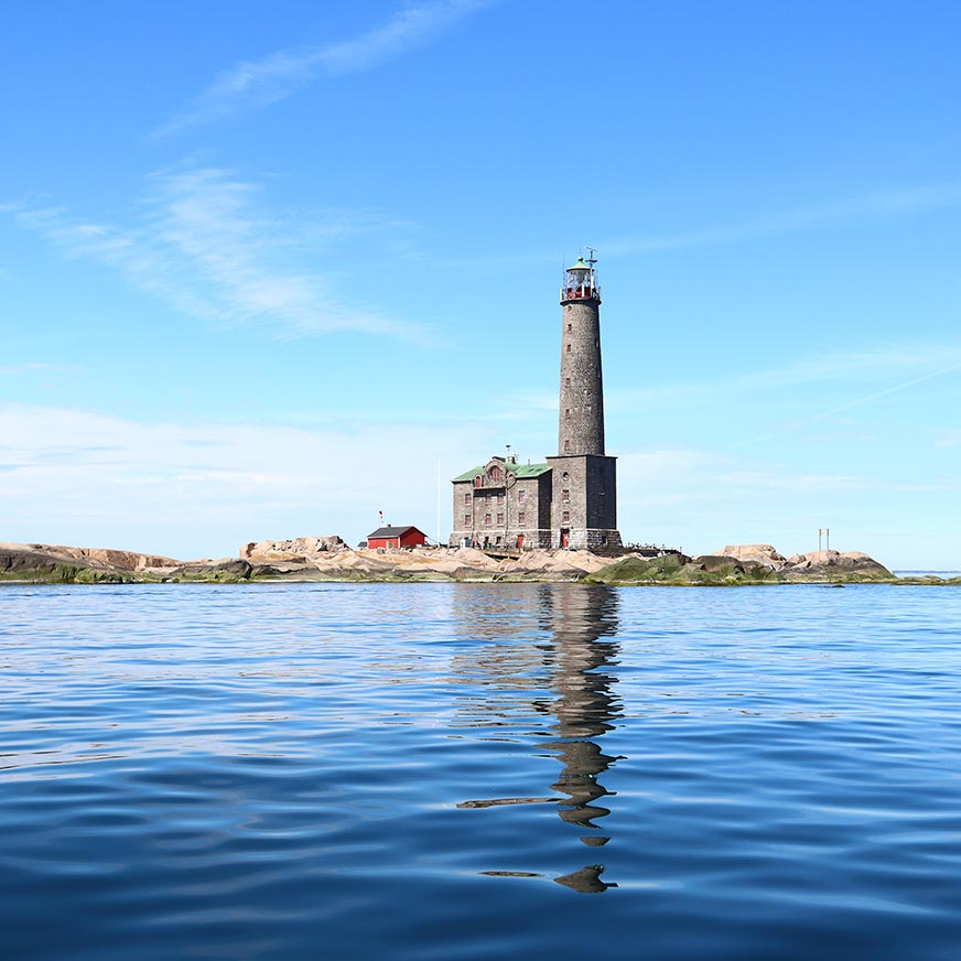 Bengtskär lighthouse in Finland as seen from across the water